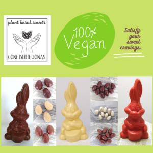 Vegan Paasassortiment Confiserie Jonas paaseitjes en paashaasje wit, bruin, roze en puur